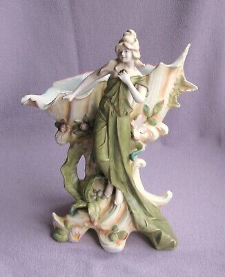 Antique German Porcelain Bohemian Art Nouveau Figure Shell Centre Piece c.1900