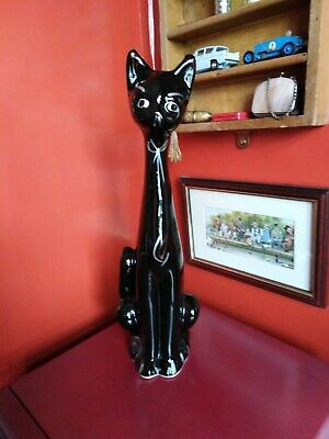 Retro Kitsch, Mid century vintage black Siamese cat, ceramic , also a vase. Fab!