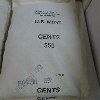 1997 P Mint Sewn Bag Of 5000 B.u. Lincoln Memorial Cents