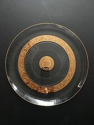 """Culver Round Serving Plate Tray Clear & Gold Mid Century Large 14.5"""" D"""