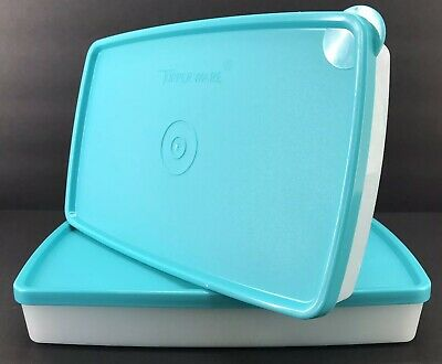 Tupperware Freeze It Containers Shallow Rectangle Set of 2 #5552 Snowflake New