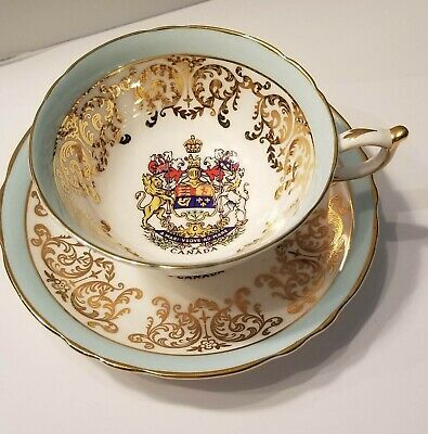 Paragon Lt. Blue w/ Gold Trim Teacup & Saucer Coat of Arms for Canada