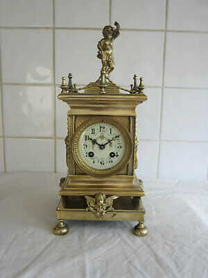 Fine Brass French Bell Chime Clock –Circa 1880-Marti
