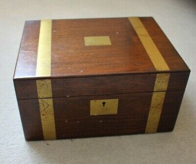 Antique Victorian Writing Box Mahogany with Brass Inlay including Ephemera 1904