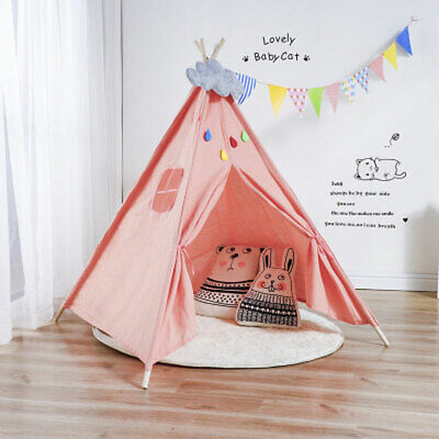 Large Teepee Tent Cotton Canvas Children's Tent Kids Play House Girls Wigwam Gam