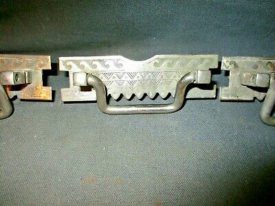 3 Antique Victorian Eastlake Style Ornate Nickel Plated Drop Handle Drawer Pull