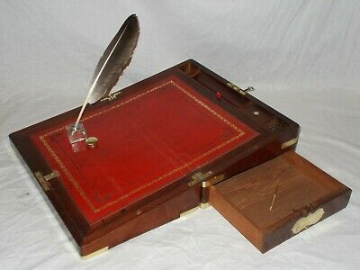 ANTIQUE EARLY VICTORIAN c1850 BRASS MAHOGANY CAMPAIGN STYLE WRITING SLOPE BOX