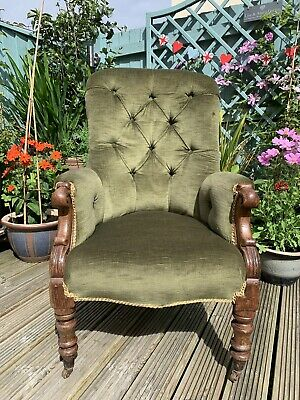 Antique Victorian Button Backed Carved Oak Library Upright Green Armchair