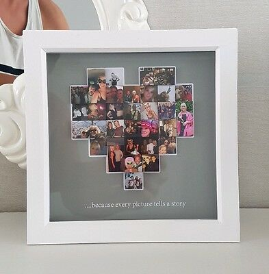 personalised 3d photo collage box frame mesage heart gift xmas custom present
