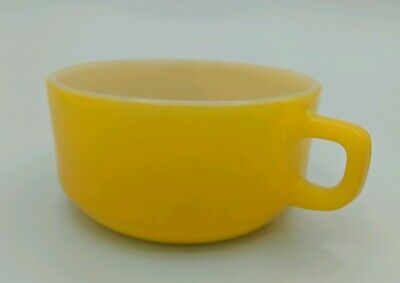 Vintage ANCHOR HOCKING FIRE KING Mustard Yellow Soup Cereal Bowl Mid-century