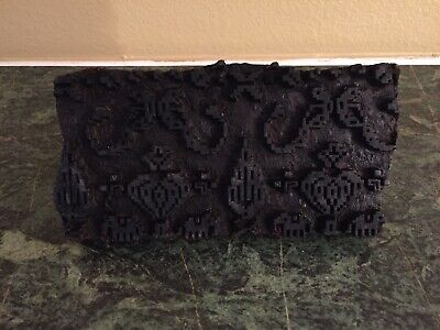 """VTG Antique Hand Carved Wood Textile Printing Block Stamp Fabric 8"""" x 4"""""""