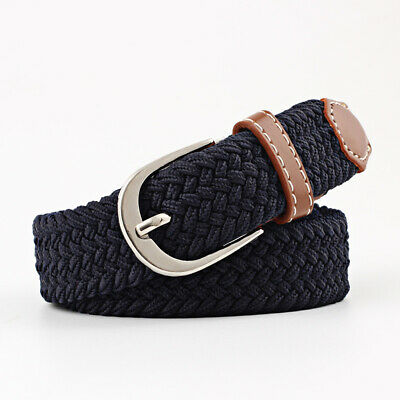 Braided Stretch Belt Golf Elastic Fabric Woven Belts Casual Men Accesories US