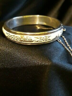 Sterling Silver Enamel Bangle hinge with safety chain
