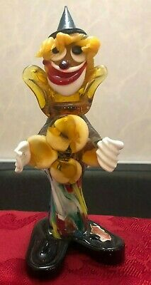Murano Art Glass Clown Figurine Italy Stamped 7,5 in high Vintage