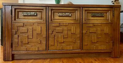 Mid Century Paul Evans Brutalist Record Wall Cabinet Buffet Mosaic Wood Lane