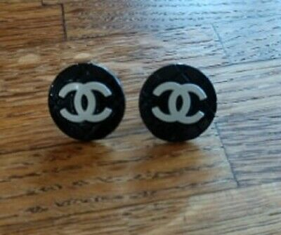 Authentic Vintage Chanel BUTTON Black and White Classic PIERCED Earring ~WOW!!!