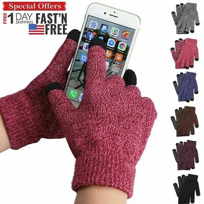 Men Women Winter Warm Gloves Knit Gloves Windproof Thermal Touch Screen Mittens