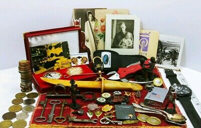 Vtg Antique Junk Drawer Lot Mens Jewelry Zippo Keys Tokens Toy Soldiers Watch