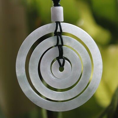 Certified Grade A Natural Jadeite JADE Icy Light Lavender Circle Donuts Pendant