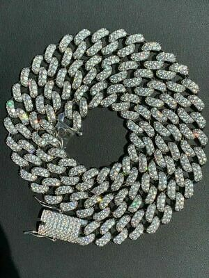Men's Miami Cuban Link Chain Real White Gold Over Stainless 15mm Diamond Silver