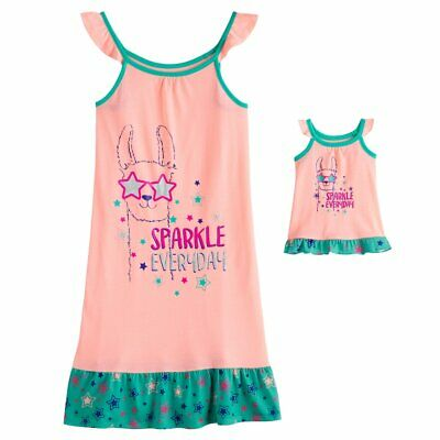 NWT Girls Llama Nightgown Matching Doll Gown Fits American Girl Dollie & Me