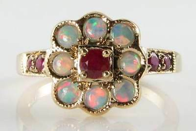 Lovely Quality 9Ct Gold Art Deco Ins Ruby & Opal Ring