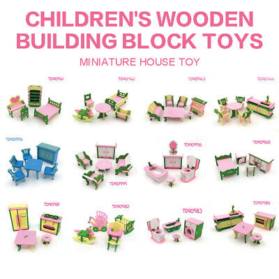 11 Set Miniature Wooden Furniture For Dollhouse Children Family Play Toys Gifts