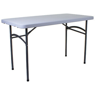 4FT Folding Table Heavy Duty Blow Moulded Outdoor Garden Furniture Patio White