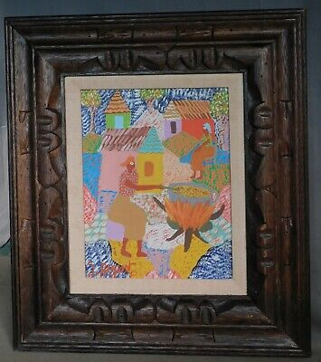 Vintage Outsider Art Painting Georges Auguste Haitian Old Master Village Figures
