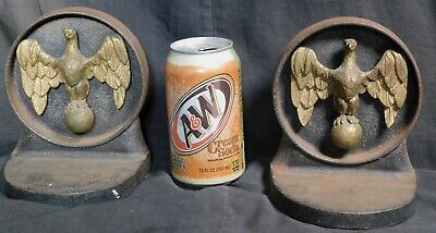 Vintage WWII Pair Cast Iron Brass American Eagle MASSIVE Bookends Early Federal