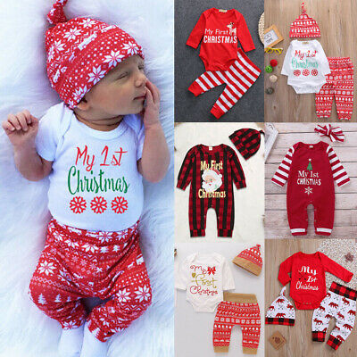 US Newborn Baby Boy Girl Christmas Romper Bodysuit Jumpsuit Clothes Outfit Pants