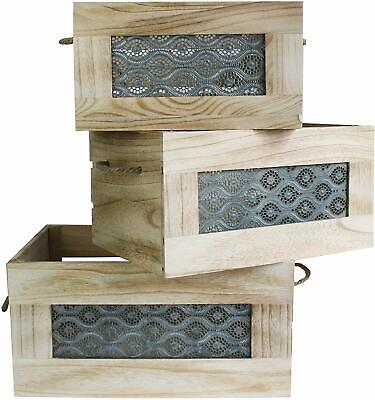 Set of 3 Wooden Decorative Display Storage Crates Chests Rustic Natural Wood