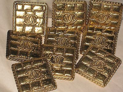 CHANEL 5 gold  METAL CC LOGO BUTTON SQUARE 18 MM X 18 MM NEW BRICK STYLE LOT 5