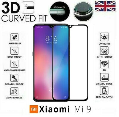 For Xiaomi Mi 9 Full 3D Tempered Glass 9H Screen Protector Cover Black Edge