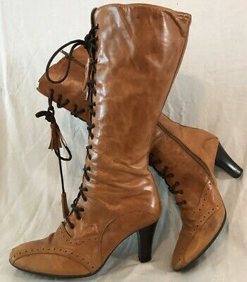 Roberto Vianni Light Brown Mid Calf Leather Boots Size 39 (399vv)