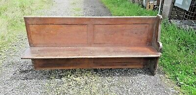 Small Church Pew Bench, Pitch Pine, c.1900's Antique Vintage Seating Chair