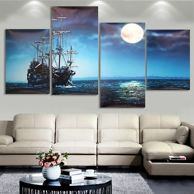 4Pcs Modern Sea Ship Canvas Print Painting Picture Home Wall Art Decor Unframed