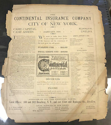 Vintage 1876 Financial Statement CONTINENTAL INSURANCE CO of NEW YORK