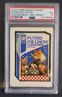 1973 WACKY PACKAGES PUTRID CAT CHOW LUDLOW BACK 2nd Series PSA 3