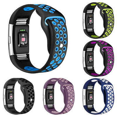 Dual Color Sport Silicone Band Bracelet Strap Replacement For  Fitbit Charge 2