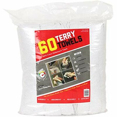 Terry Cleaning Cloths Towels Grade Rags 60 Pack (14X17 In, White) Health &amp