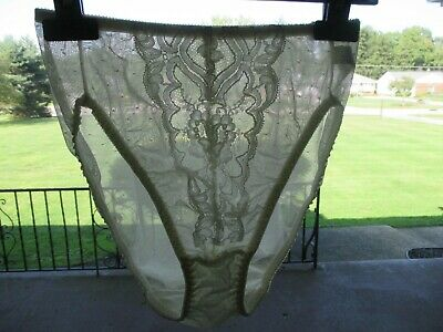 Vintage Vanity Fair Sheer Ivory Nylon & Lace Hi-Cut Brief Panties Usa Made Large