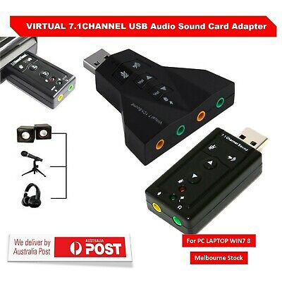 USB 2.0 External 7.1 Channel 3D Virtual Audio Sound Card Mic Adapter Laptop PC