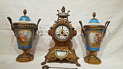 Beautiful mid 19thc eight day French Clock Garniture Large Urns For Restore