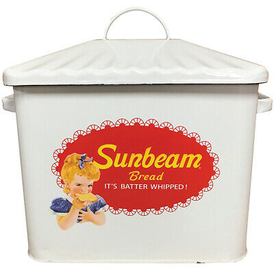 NEW Sunbeam White Enamel Bread Box - Made of Metal and Intentionally Distressed