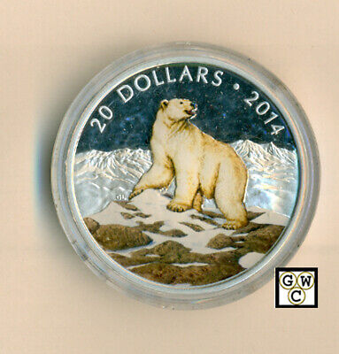 2014 'Iconic Polar Bear' Colorized Proof $20 Fine Silver 1oz. Coin(13335) (OOAK)