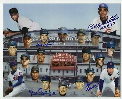 Chicago Cubs Signed Auto 8x10 Photo With 4 Autographs Billy Williams