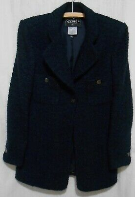 CHANEL BOUTIQUE Vintage 90s BLAZER JACKET Boucle Wool & Mohair Navy Blue size 40