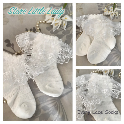 Baby Boy Girl Christening Baptism White Ivory Lace Socks