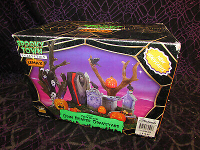 "Lemax 74592 Spooky Town Halloween Decor ""Grim Reaper Graveyard""-Lighted-Retired"